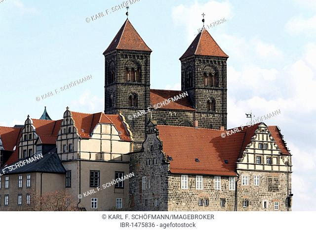 Castle and St. Servatii abbey church, castle hill, Quedlinburg, Harz, Saxony-Anhalt, Germany, Europe