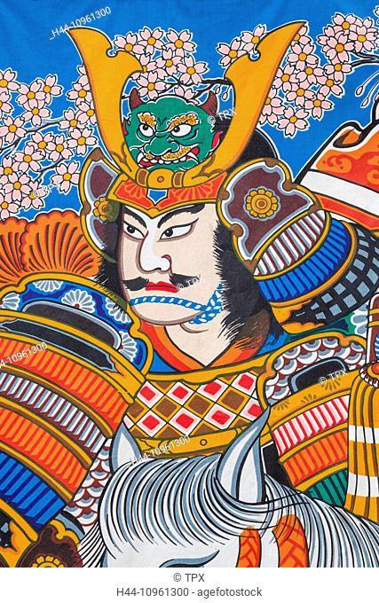 Japan, Honshu, Kanto, Tokyo, Asakusa, Sensoji Temple aka Asakusa Kannon Temple, Nakamise Shopping Street, Banner depicting Illustration of Samurai