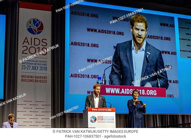 AMSTERDAM, NETHERLANDS - 24 JULY 2018 Prince Harry, Duke of Sussex, and Elton John during the International Aids Conference on July 23, 2018 in Amsterdam