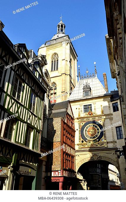 France, Seine Maritime, Rouen, the Gros Horloge is an astronamical clock dating from the 16th century