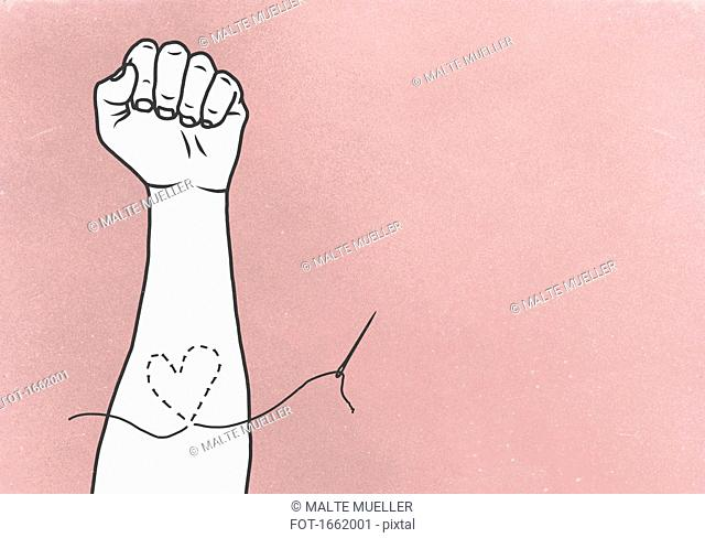 Illustrative image of heart stitched on hand against pink background