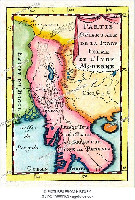 Asia: Map of Indochina showing parts of India, China and Central Asia and featuring prominently the mythical 'Lake Chiamay', Paris, 1683