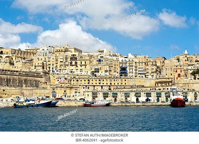 View of the nested houses in the historic centre, Valletta, Malta