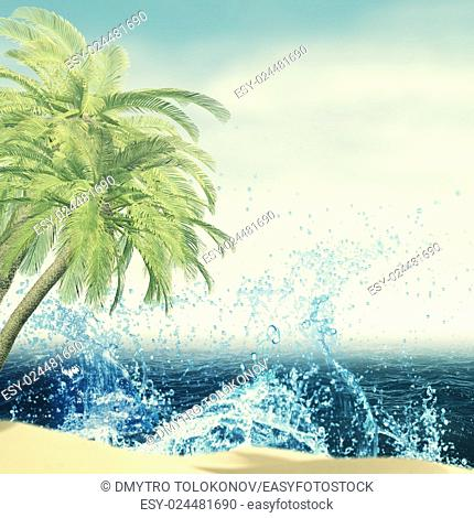 Palm, ocean waves and beach, abstract summer vacation backgrounds