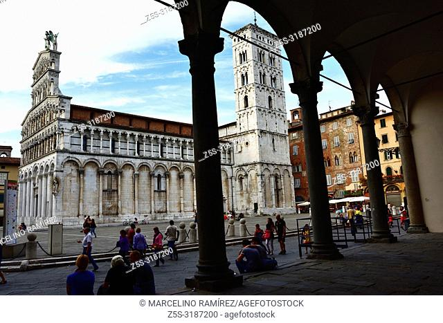 San Michele square and San Michele in Foro, Roman Catholic basilica church. Lucca, Province of Lucca, Tuscany, Italy, Europe