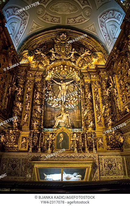 Church of Saint Roch, Interior, Crucifixion and Pieta sculpture, Igreja de Sao Roque, Lisbon, Portugal