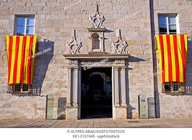 Catalan flags, old hospital of Santa Caterina, Girona, Catalonia, Spain
