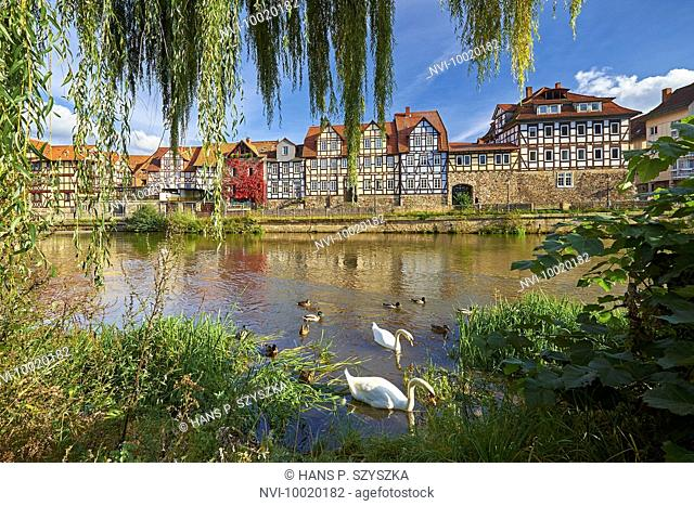 Half-timbered houses at the Kasseler Schlagd on the Fulda River, Hann. Münden, Lower Saxony, Germany