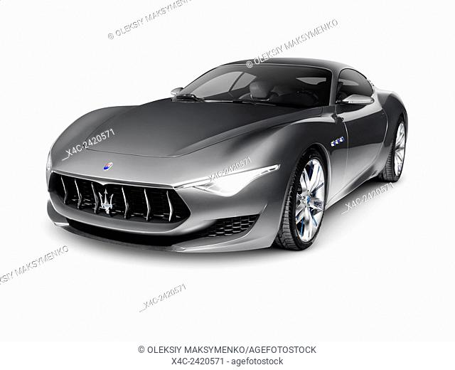 Gray 2015 Maserati Alfieri concept luxury car approved for production in 2016. Isolated on white background with clipping path