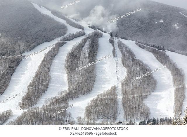 Snow making at Cannon Mountain in Franconia Notch State Park of the New Hampshire White Mountains from Eagle Cliff during the winter months