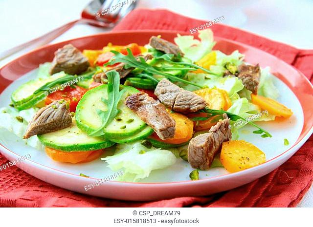 salad with vegetables and meat