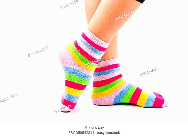 socks female legs on a white background