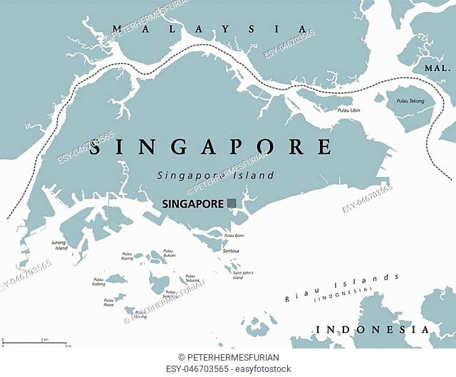Singapore political map with English labeling. Republic and sovereign state in Southeast Asia. Sometimes called Lion City, Garden City or Little Red Dot