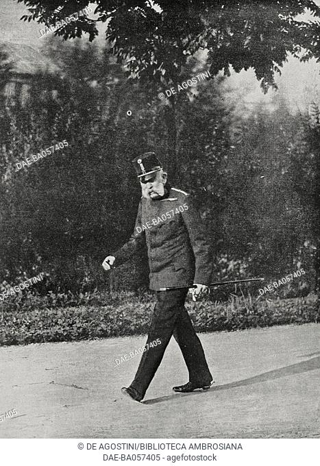 Franz Joseph I (1830-1916), Emperor of Austria in the years 1848-1916, on the day of his ultimatum to Serbia, July, 1914, Bad Ischl, Austria