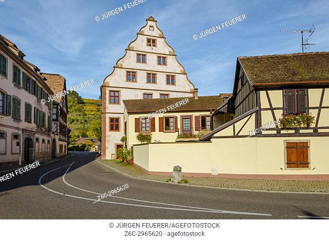 house of manorialism the village Andlau, foothills of the Vosges Mountains, on the Wine Route of Alsace, France