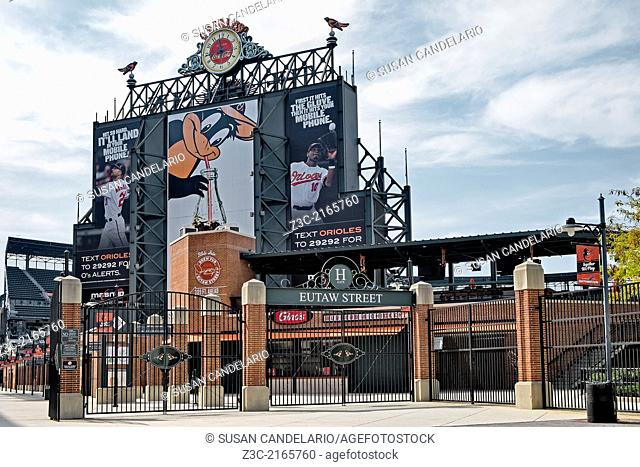 A view to the entrance of Oriole Park at Camden Yards in Baltimore, Maryland, USA