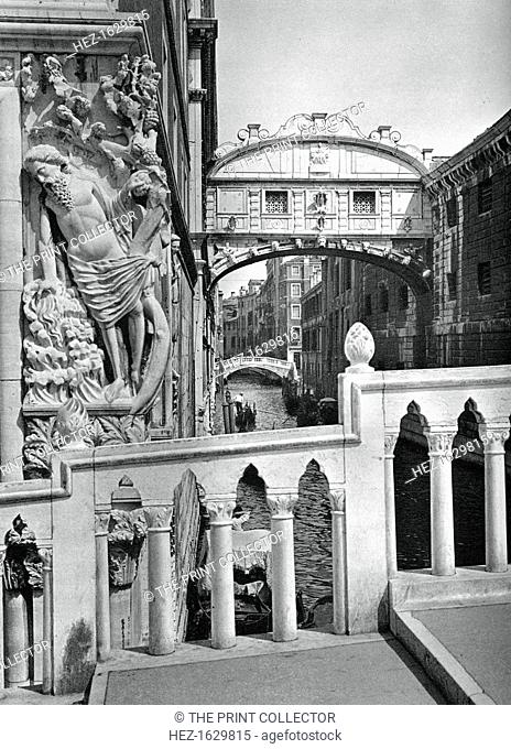 The Bridge of Sighs and Doge's Palace, Venice, 1937. Designed by Antonio Contino and built in 1600, the Bridge of Sighs connects the old prison of Venice to the...