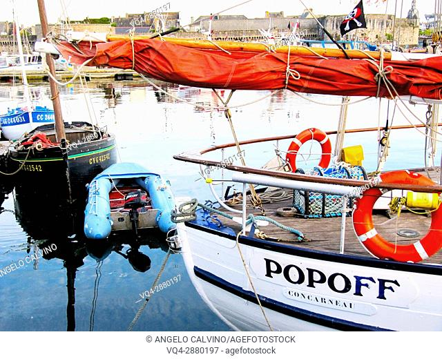 Boats in the port in Concarneau, Bretagne, Brittany, France.
