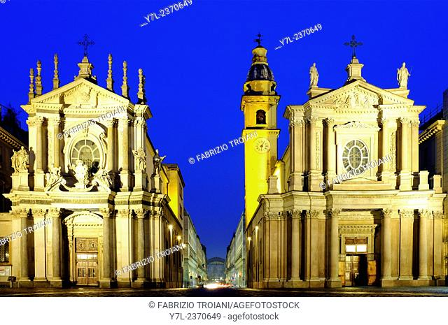 Twin churches of Santa Cristina (left) and San Carlo (right), Turin, Italy