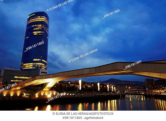 Panoramic night view of Iberdrola tower and Pedro Arrupe bridge  Bilbao, Biscay, Basque Country, Spain