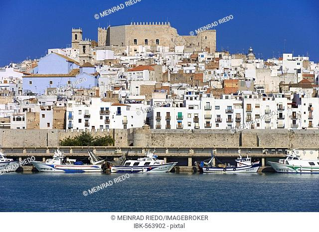 Old town and port of Peniscola, Costa Azahar, Spain, Europe