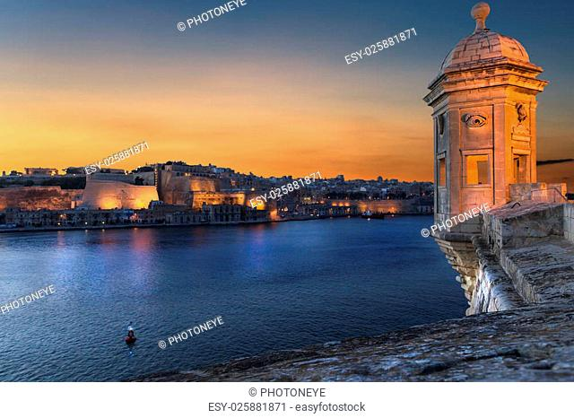 Famous city ladnscape in Malta, in the old harbor
