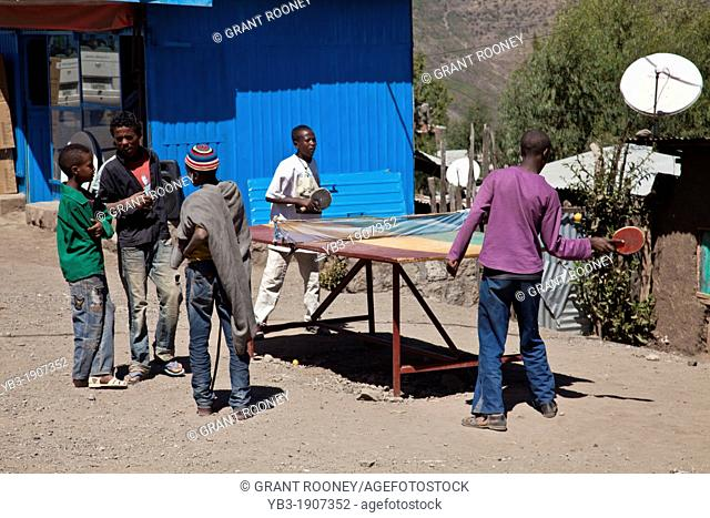 Children Playing Table Tennis In The Street, Lalibela, Ethiopia