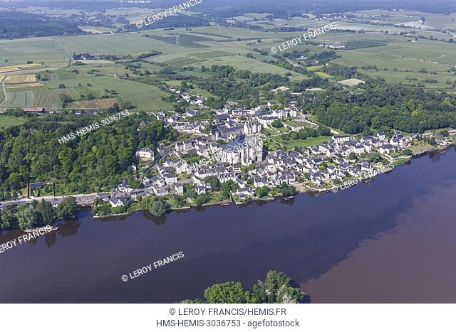 France, Indre et Loire, Candes Saint Martin, village labelled Les Plus Beaux Villages de France (The Most Beautiful Villages of France) (aerial view)