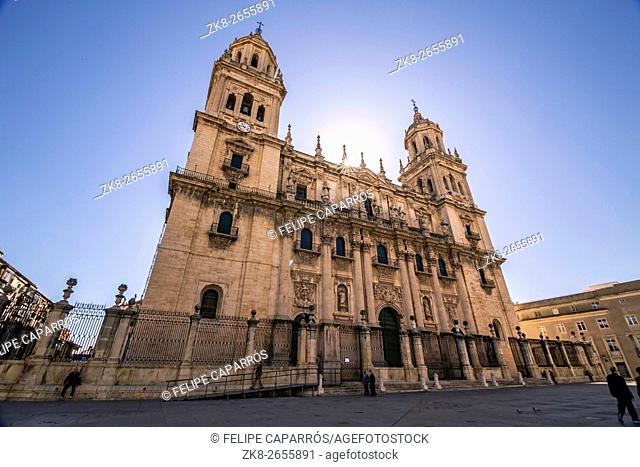 Main facade of Jaen Cathedral in a sunny day, It is a Spanish Renaissance cathedral located in Santa Maria Square in Jaen, Spain, take in Jaen, Spain
