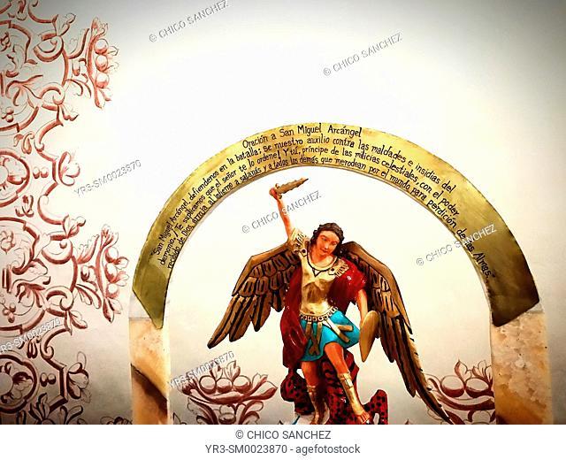 An image of Saint Michael Archangel decorates the Museo de Arte Sacro of Queretaro, Mexico