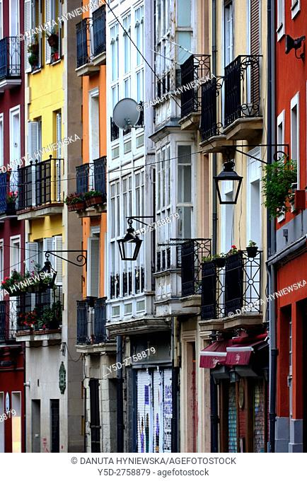 facades of houses in Old Town, Vitoria-Gasteiz. Alava, Araba, Euskadi, Basque Country, Spain, Europe