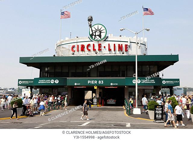 The Circle Line sightseeing cruise building on Pier 83 in New York City, New York, USA