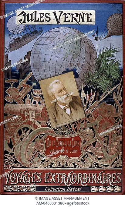 Jules Verne 1828-1905 French novelist: Cover of 'De la Terre a la Lune' and 'Autour de la Lune' from his series ' Voyages Extraordinaires' with picture of the...