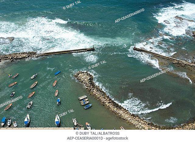 Aerial photograph of a small harbor in the coast of Caesarea