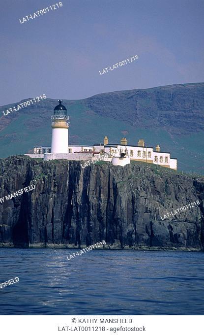 Neist Point lighthouse on cliffs 1000 feet high south of Loch Dunvegin. West Skye. Western Isles