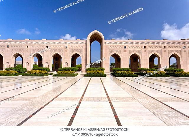 Grand Mosque buildings with arch architecture in Muscat, Oman