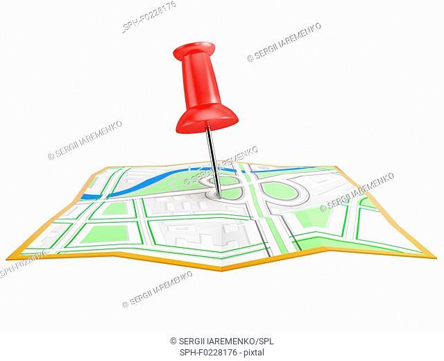 Location pin on city map, illustration