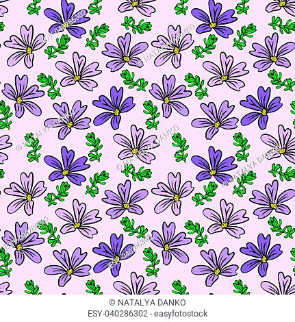 purple flower and green twig on light lilac background, seamless pattern