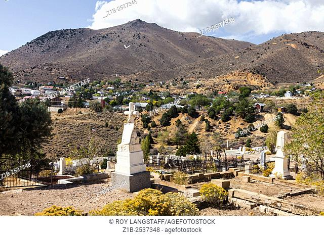 An overview of Virginia City from the pioneer cemetery at the north end of town