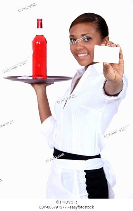 Bottle and waitress card