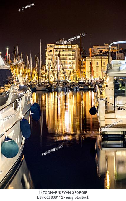 Yachts in the cannes bay at night