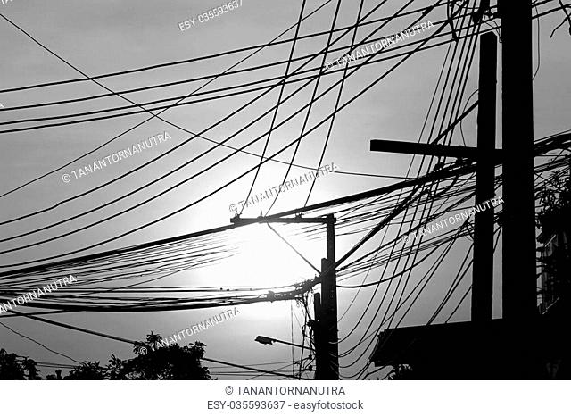 abstract of chaotic electricity wire in Thailand