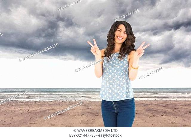 Composite image of smiling attractive brunette posing