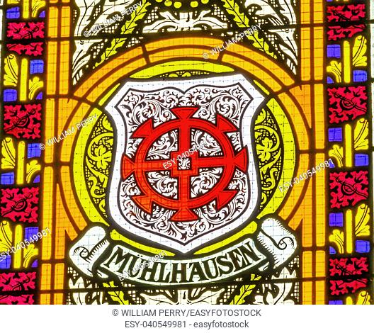 Mulhausen Coat of Arms Stained Glass All Saints Castle Castle Church Schlosskirche Lutherstadt Wittenberg Germany. Where Luther posted 95 thesis 1517 starting...