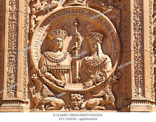 Salamanca, Salamanca Province, Spain  Medallion of the Catholic Monarchs, Ferdinand and Isabella, on the 16th century Plateresque entrance to the Escuelas...
