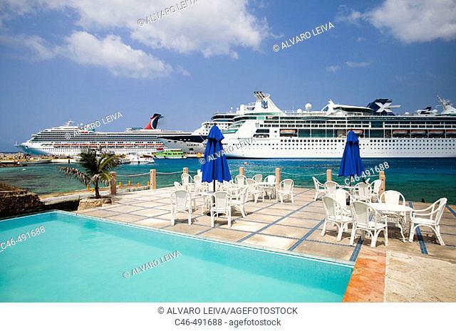 Cruise ship at port, Cozumel island. Quintana Roo, Yucatan Peninsula, Mexico