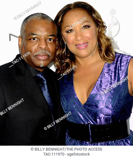 Actor LeVar Burton and wife Stephanie Cozart Burton attends 2016 Make-up artists and Hair Stylists Guild Awards at Paramount Theatre at Paramount Studios on...
