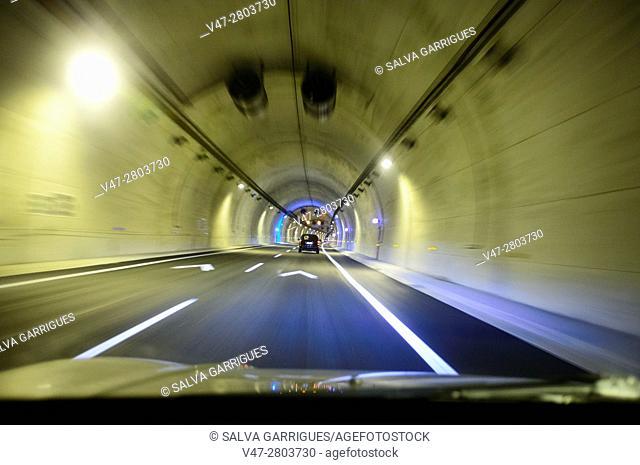 Car in a tunnel, Valencia, Spain