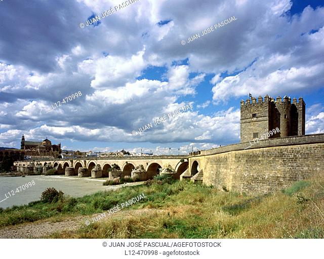 Roman bridge over Guadalquivir River and La Calahorra tower, with the mosque in backgroud. Córdoba. Spain