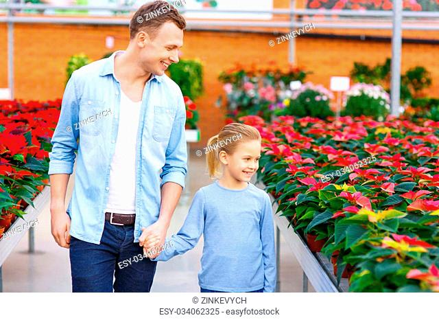 Picking flowers. Handsome father with his small kid are walking down the orangery aisle